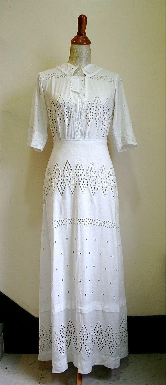 linen wedding dresses   Vintage 1910s Edwardian White Eyelet Linen Tea or Wedding Dress