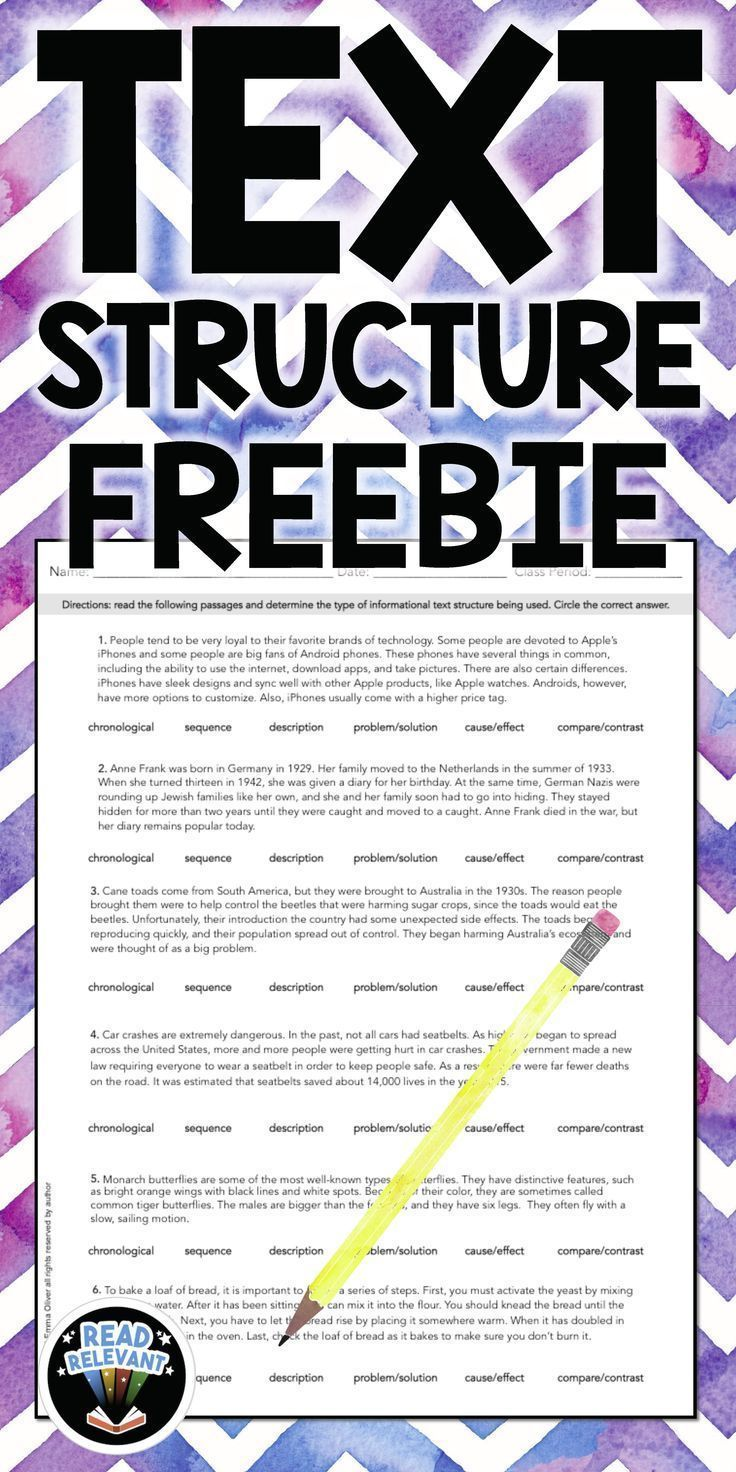 Text Structure Freebie: One Page Worksheet | Middle school ...