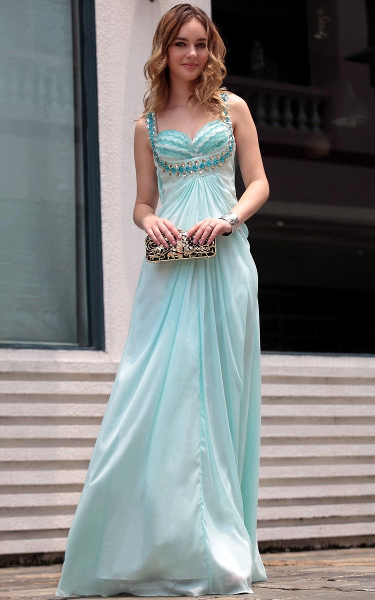 Light blue lace brassiere party prom ball gown homecoming dress