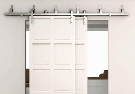 Bd Fssbp Satin Brushed Stainless Steel Modern Bypass Sliding Barn Door Hardware Kit Barn Door Bypass Barn Door Sliding Doors Interior