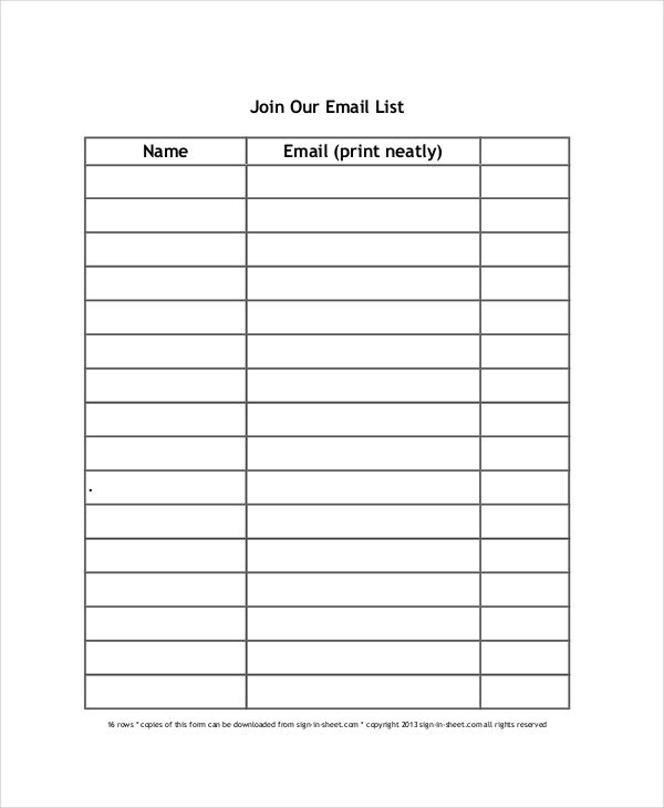 Email Sign Up Sheet Template template Pinterest Template - Sign Sheet Template