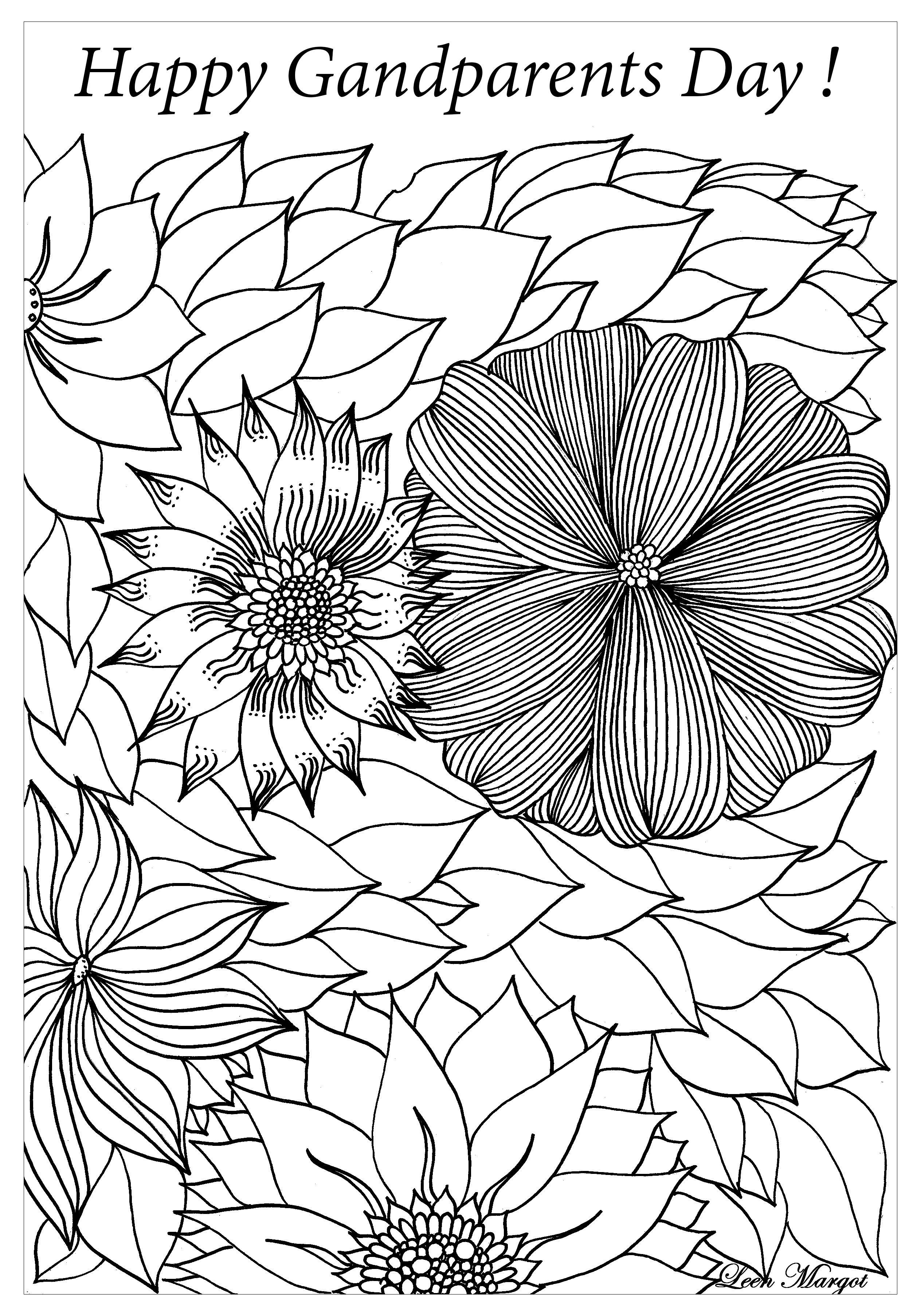 - Free Coloring Page Coloring-complex-happy-grandparents-day-by-leen-margot.  Complex Coloring Page With B… Coloring Pages, Adult Coloring Pages, Free Coloring  Pages