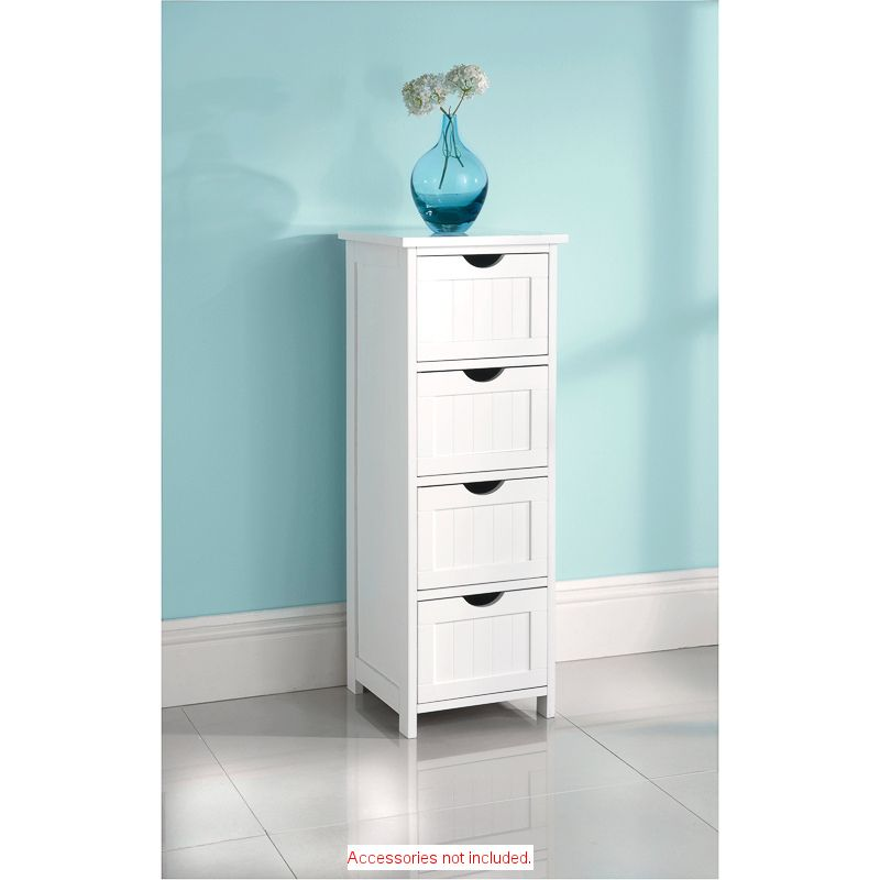 Maine 4 Drawer Chest Wooden Bathroom Cabinets Freestanding Bathroom Cabinet Drawer Storage Unit