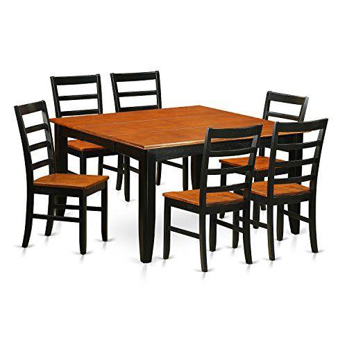 East West Furniture PARF7BLKW 7Piece Dining Room Table Set U003eu003eu003e Click On The  Image