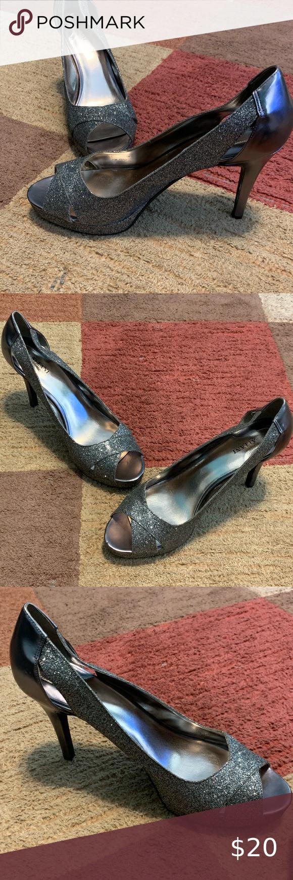 Silver Glitter pewter open toe heels in