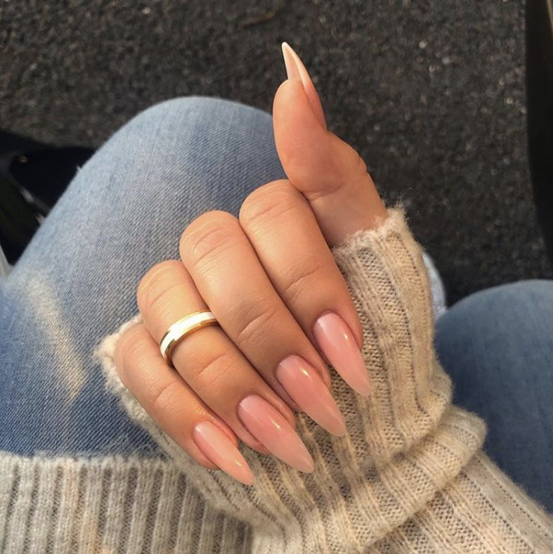 nude almond nails jelly neutral 2019