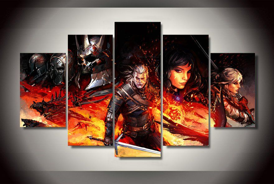 The Witcher 3 Gaming 5pc Wall Decor Framed Oil Painting Canvas Art Wall Decor Customized Canvas Art Canvas Wall Decor