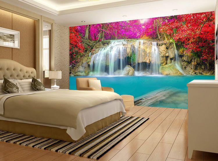 Blossom Trees Waterfall Full Wall Mural Photo Wallpaper