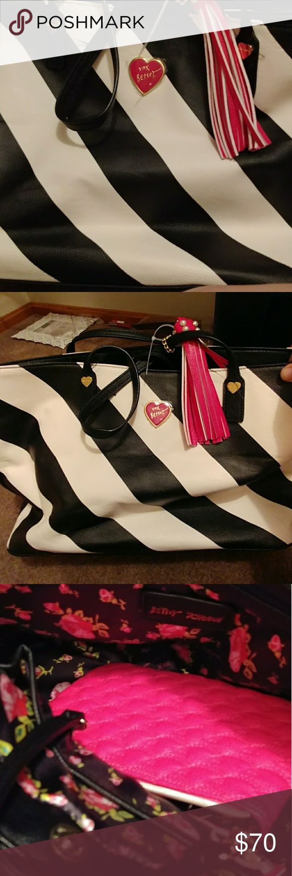 Brand new Betsey Johnson striped tote Brand new but the tag fell off.  Retails for over 100 dollars. Smoke free home. Cute black and white striped tote Betsey Johnson Bags Shoulder Bags