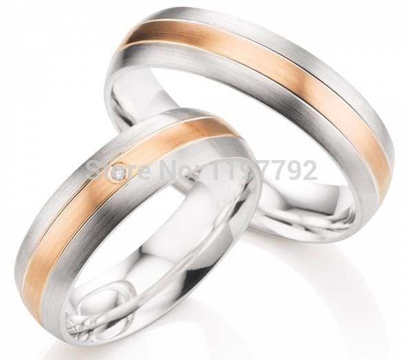 Custom Made Rose Gold Color Color Titanium Matching Engagement