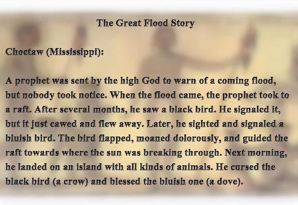 Flood Stories From Around The World Noah Choctaw Mississippi