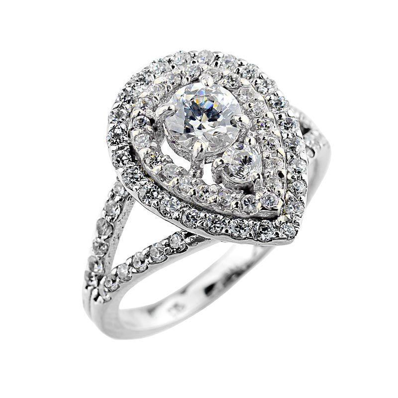 14k white gold teardrop diamond engagement proposal ring