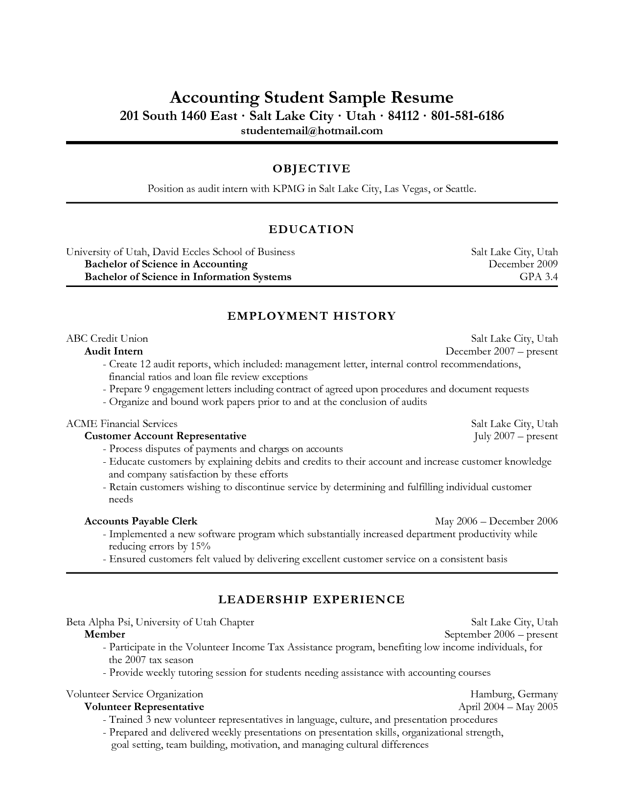 Accounting Intern Resume Accounting Resume Objective Examples  Cover Latter Sample