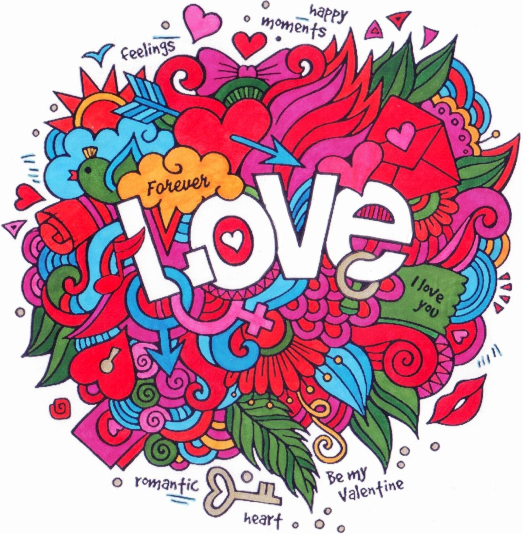 Love - colouring page | HEARTS | Pinterest
