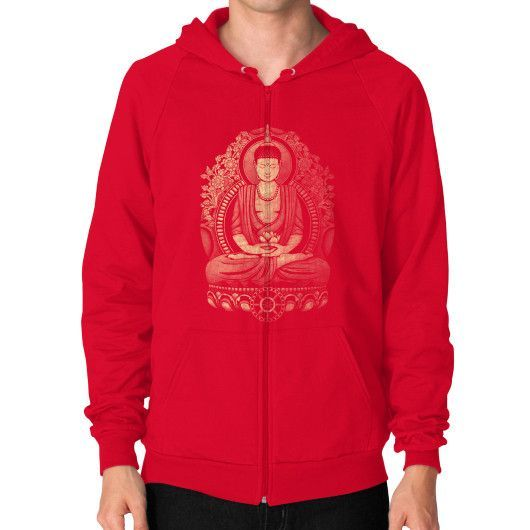 Gautama Buddha Weathered Halftone Zip Hoodie (on man)