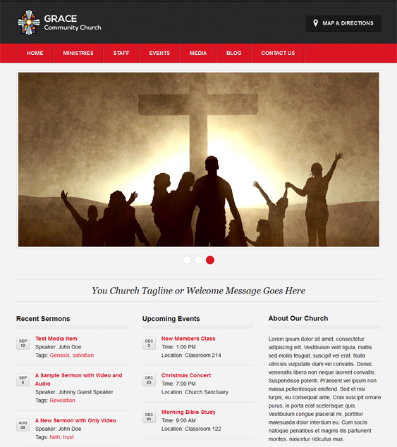 This free church WordPress theme comes with 4 predefined color schemes, a responsive layout, a media section for video and audio sermons, a homepage slider, and more.