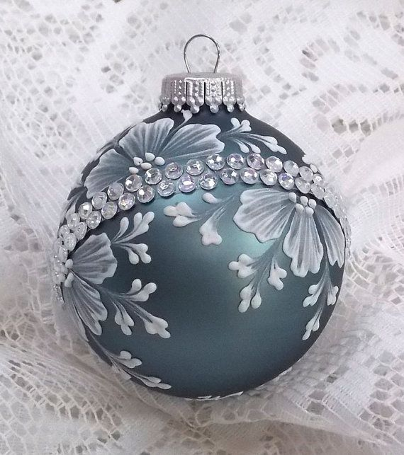 Steel Blue Hand Painted 3d White Mud Textured By Margotthemudlady Victorian Christmas Ornaments Christmas Mandala Xmas Ornaments