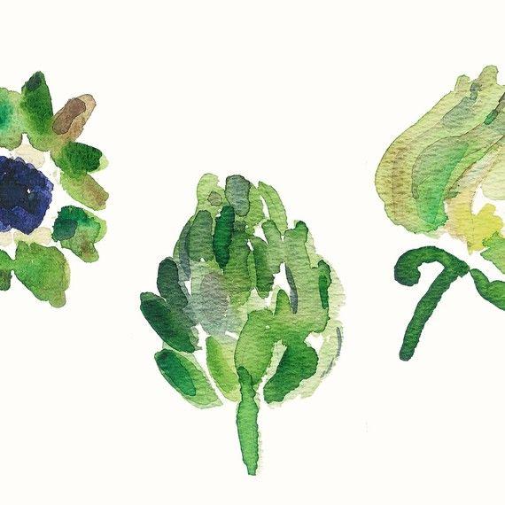 Artichoke Botanical Study   Art Print In Green And Eggplant Kitchen Decor