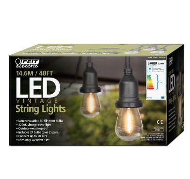 Feit Led String Lights Impressive Feit 48Ft Heavy Duty Led Waterproof String Lights Set Plus 26 Bulbs Design Inspiration