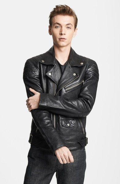 db5a2eec0 Leather Moto Jacket - Lyst
