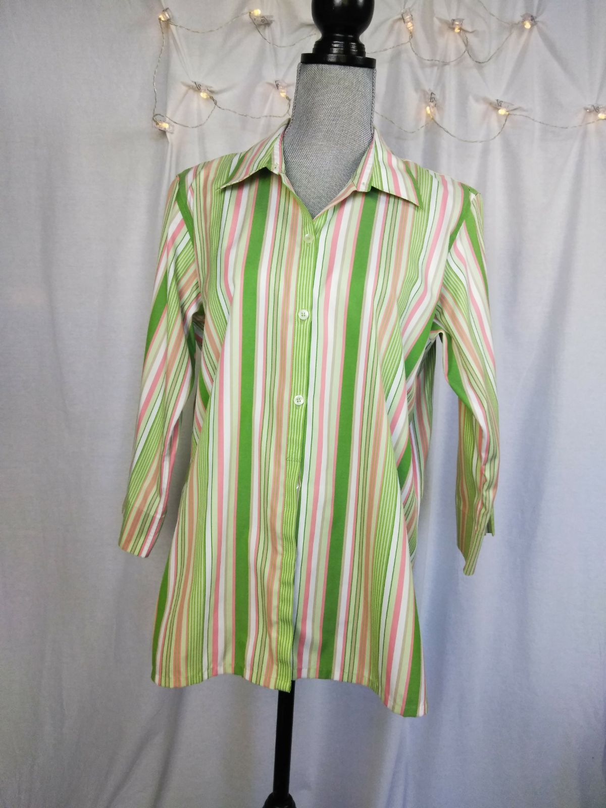 8321ab09dbee Liz Claiborne Button Up Shirt Pastel. Stripes multi color Pink white green  vertical stripes collar 3 4 sleeves. Spring Pastel Easter Brunch Shopping  ...