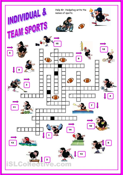 SPORTS - crossword worksheet - iSLCollective.com - Free ESL ...