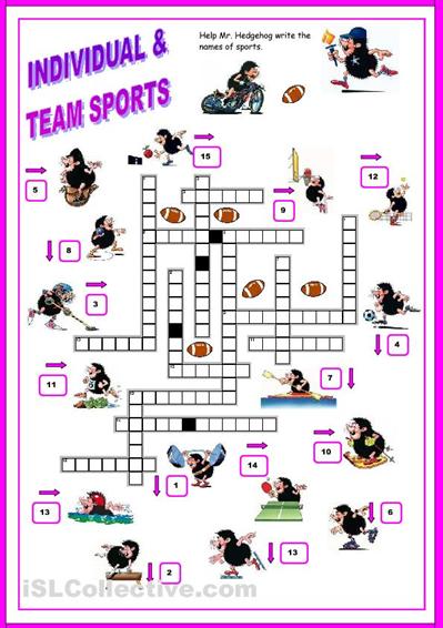 sports crossword worksheet free esl worksheets ell sports crossword. Black Bedroom Furniture Sets. Home Design Ideas