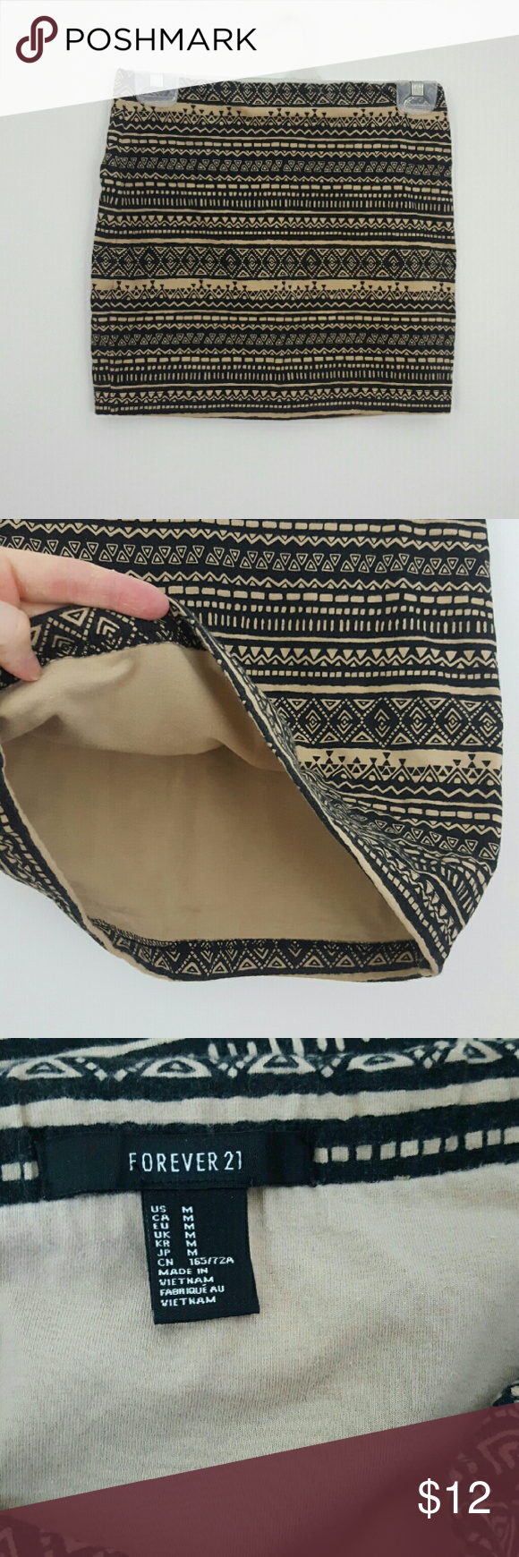 """F21 Tribal Stretch Mini Skirt Super cute Forever 21 mini skirt ! Black and beige tribal pattern. Extra lining in the inside for added support. Size medium, measurements : waist 13"""", length 14"""". Great preloved condition. Forever 21 Skirts Mini"""