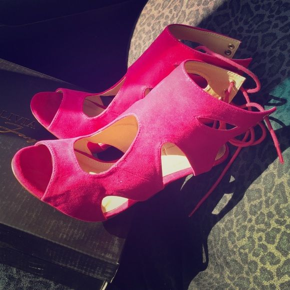 Sexy fuchsia heels Suede like size 8 worn once no signs of wear Shoes Heels