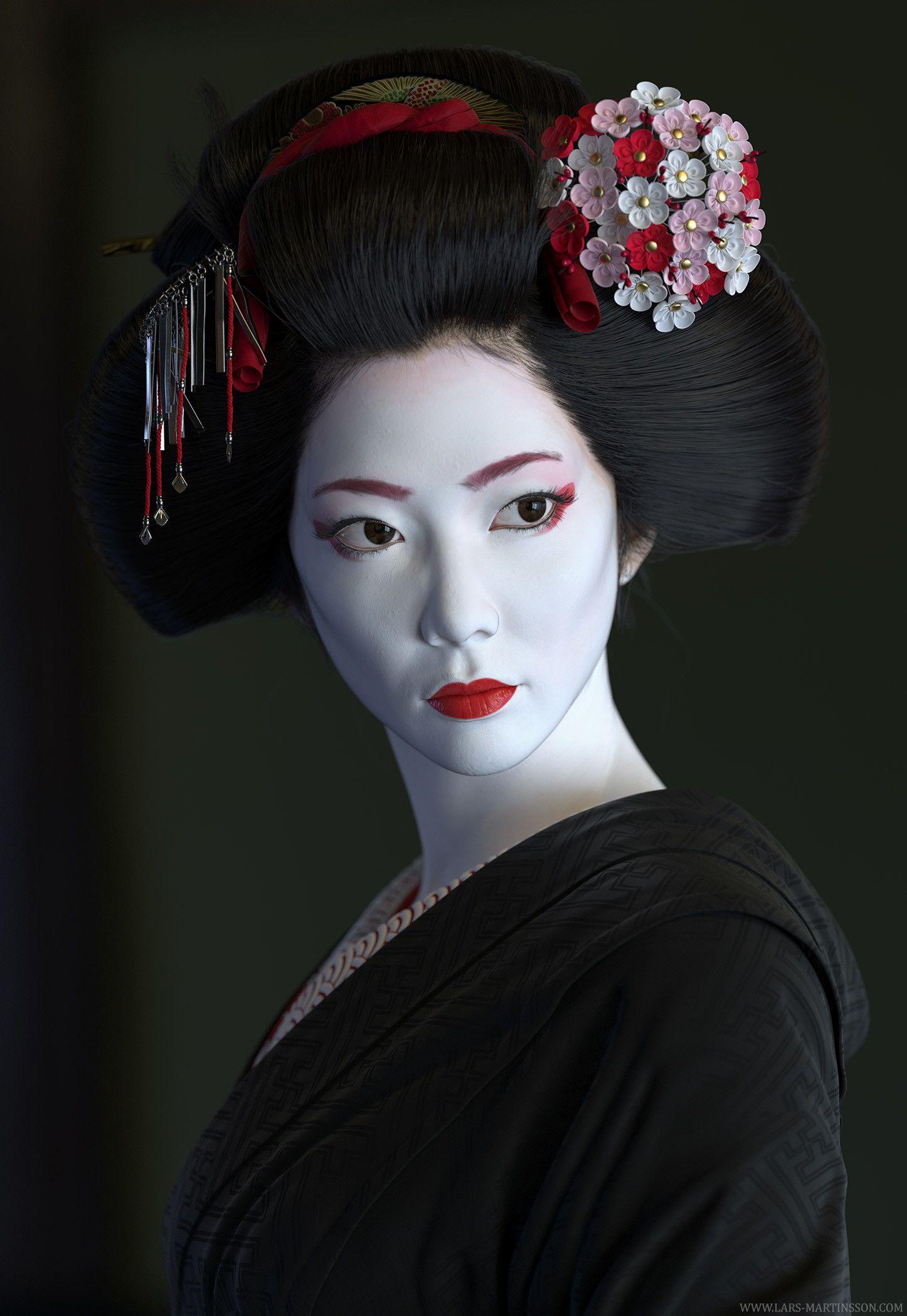 ArtStation Geisha, Lars Martinsson Geisha face, Geisha