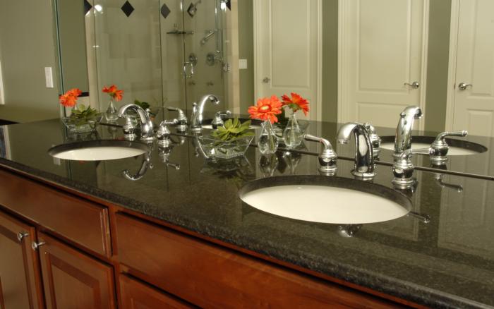Black Ubatuba Granite Bathroom Surface Encounters
