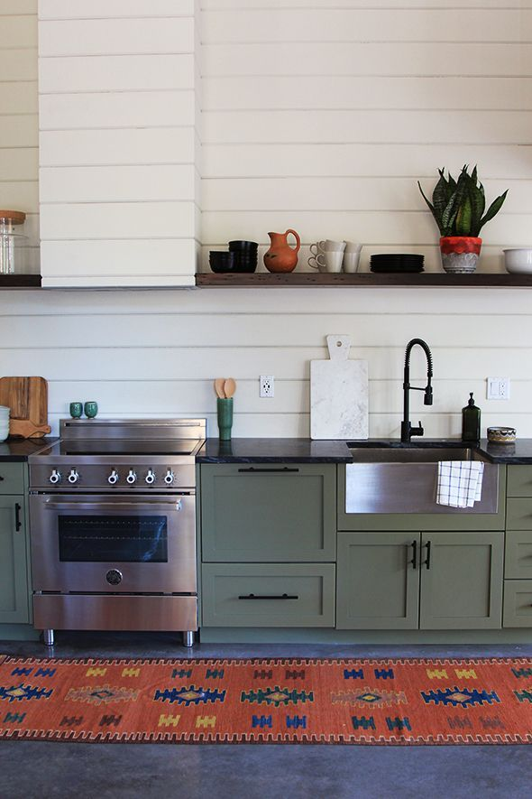 Olive Green Cabinets Bm Tate Warm Gray Wall Color French Canvas The Countertops Are Soapstone And Shelving Is Reclaimed Wood Same Used