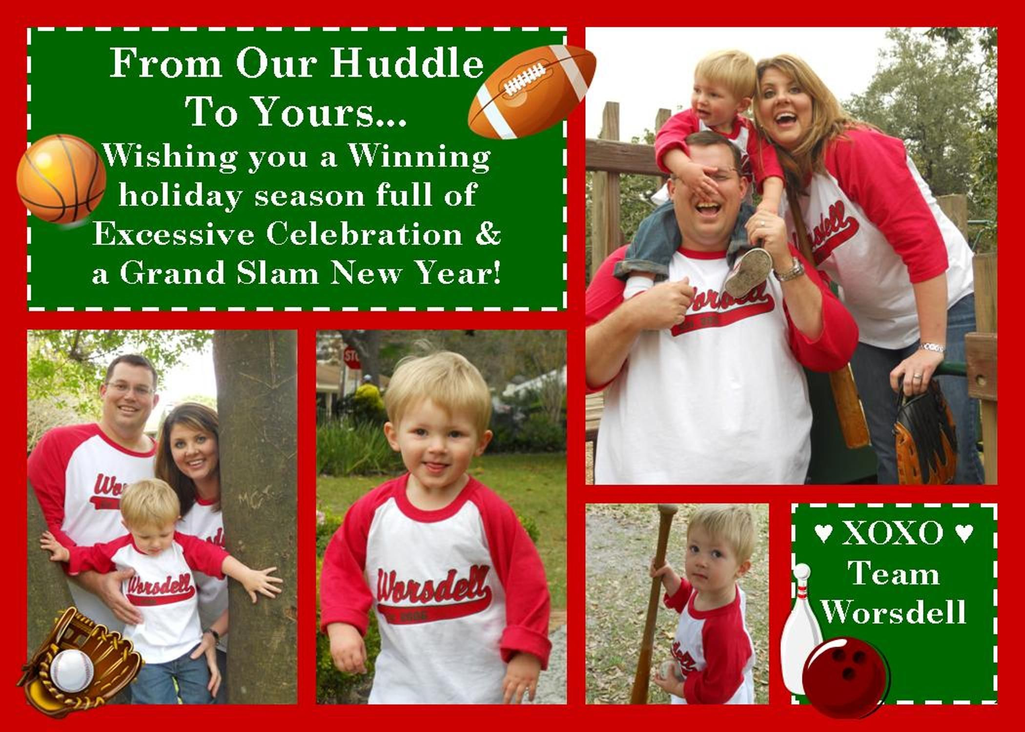 Christmas Card 2011- Sports themed with matching baseball jerseys ...