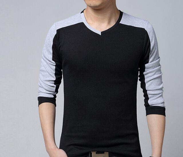 2e6b962f3 Cheap 2015 moda hombres con estilo Casual Slim Fit de manga larga camiseta  con cuello en