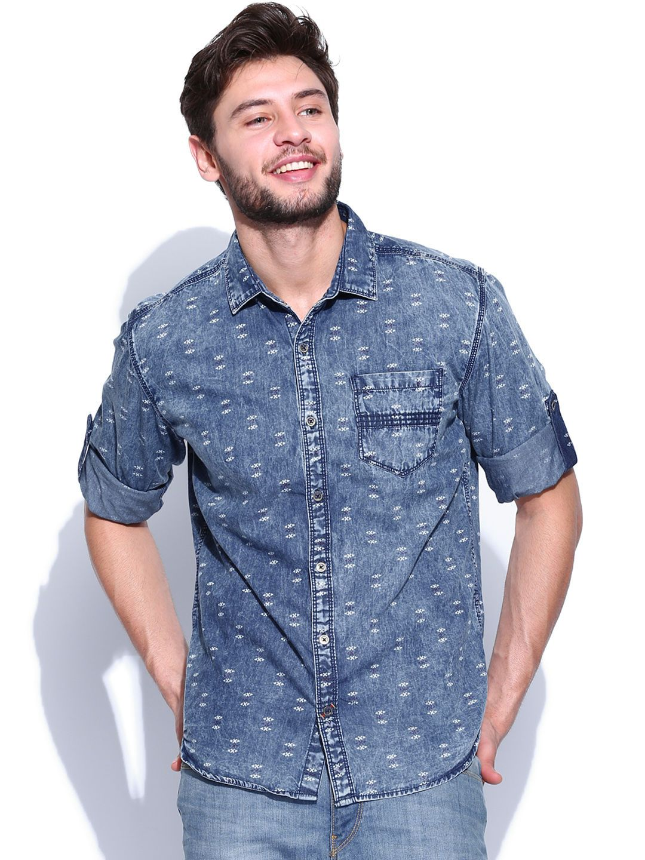 25a11d4c2dc Printed denim shirt with heavy wash Printed Denim