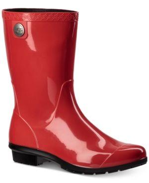 Ugg Sienna Mid Calf Rain Boots - Red 9