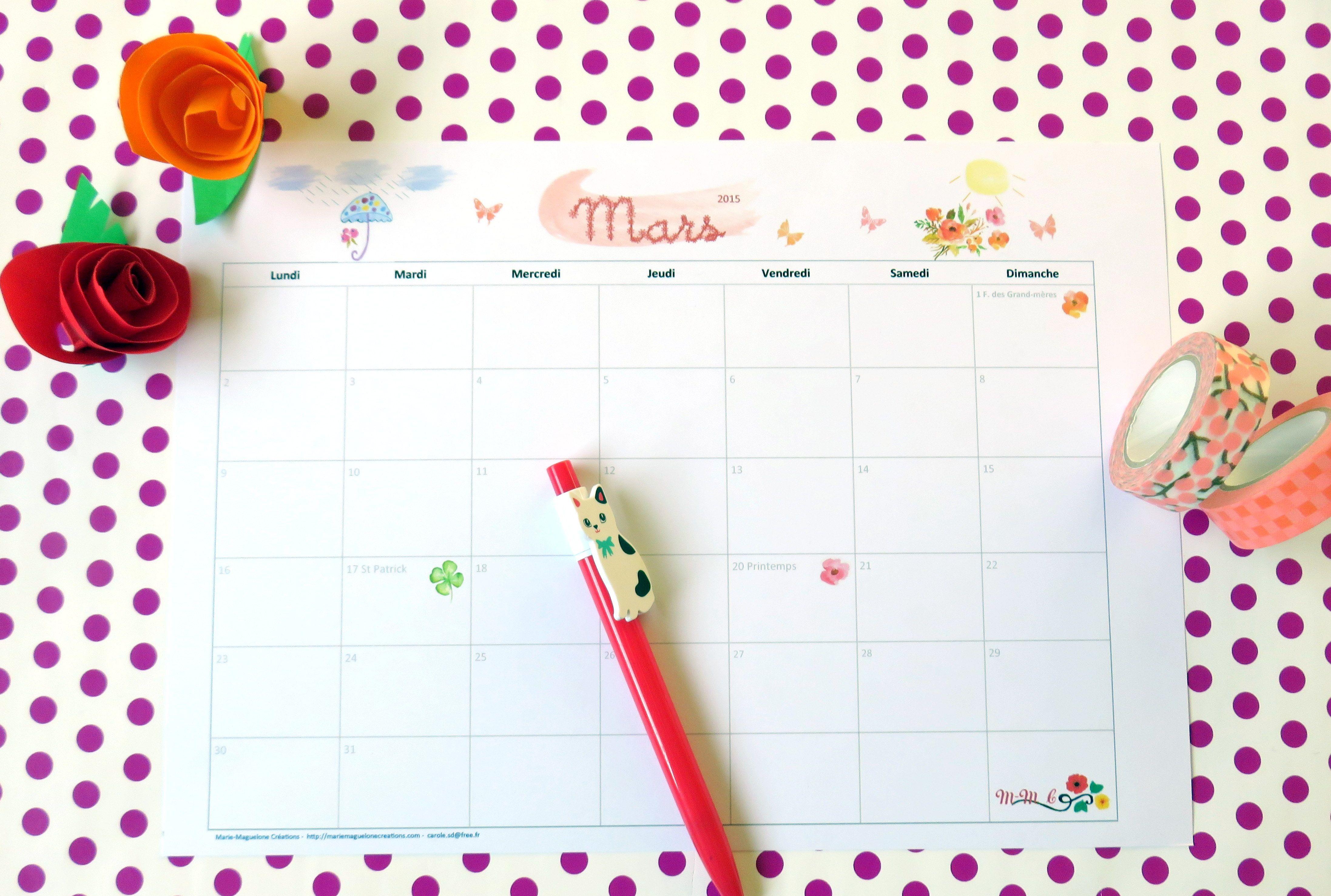 Mars 2015... nouveau calendrier !