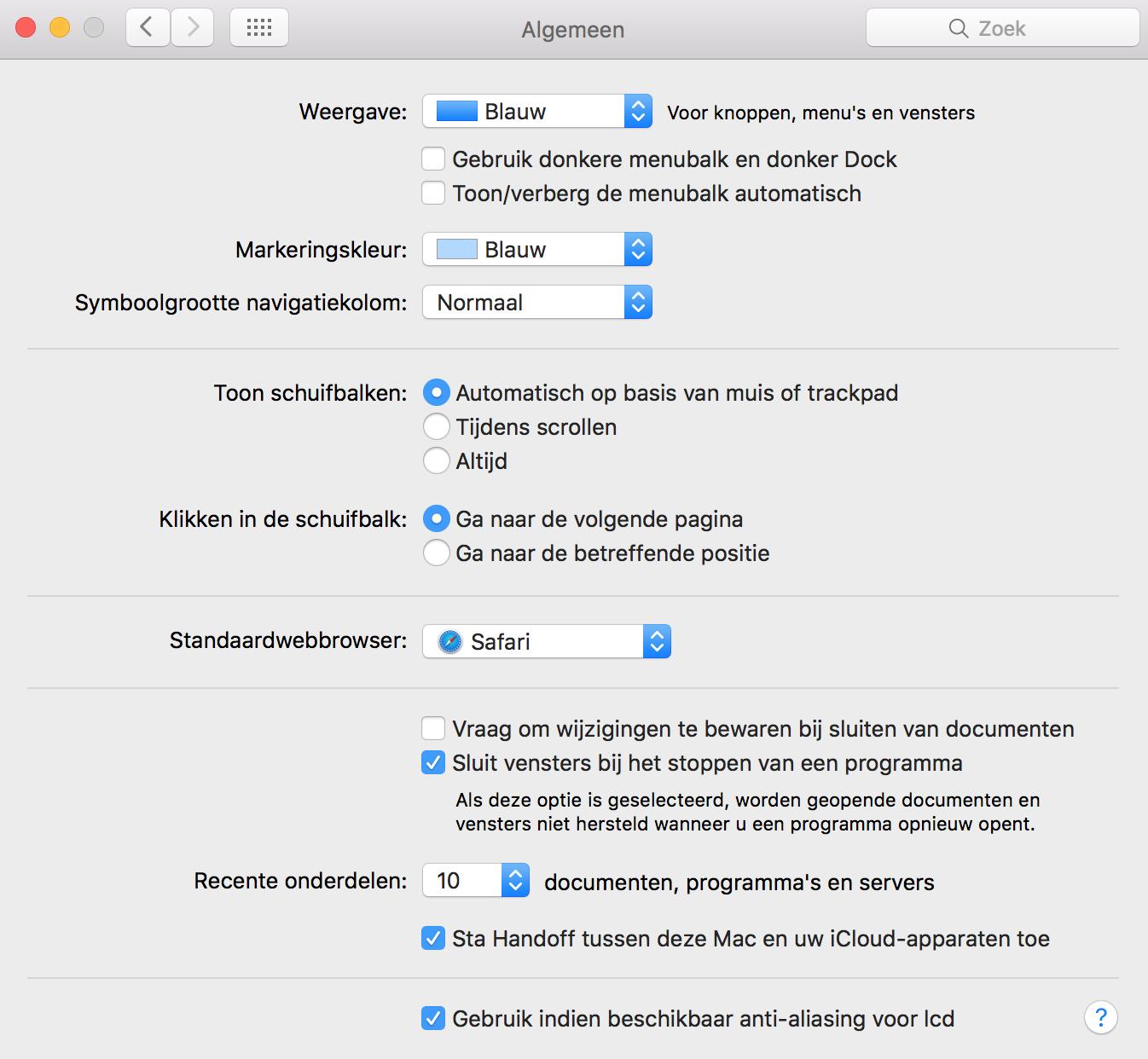 Left/right alignment systeemvoorkeuren apple