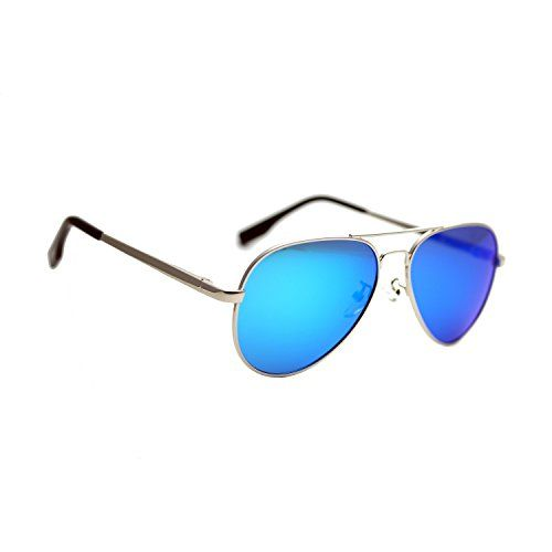 a760932d2347f Zacway Small Polarized Spring Hinges Metal Aviator Sunglasses UV400 52mm (Silver  Frame Mirror Blue Lens