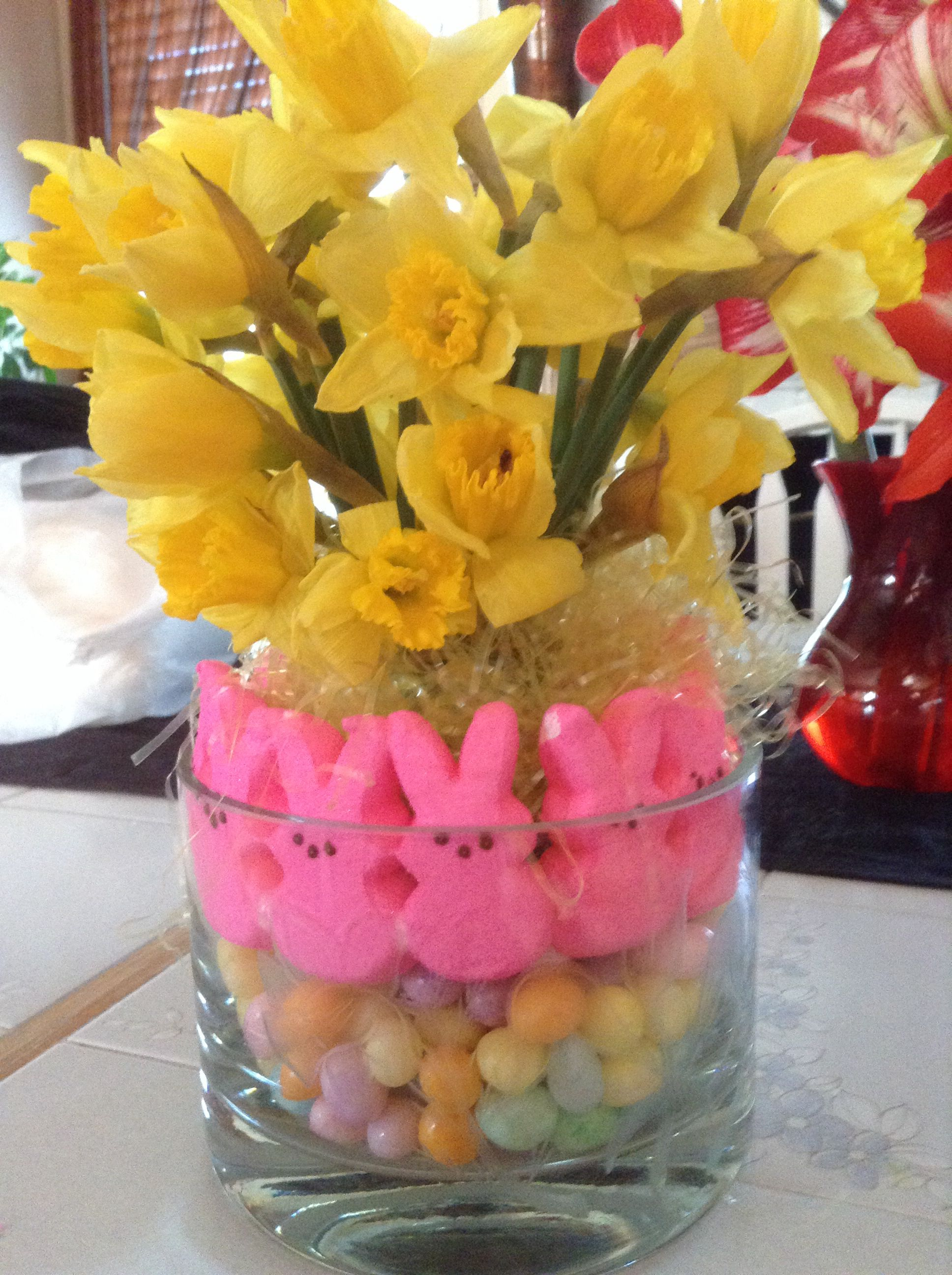 Easter flowers with jelly beans and peeps.4/20/14