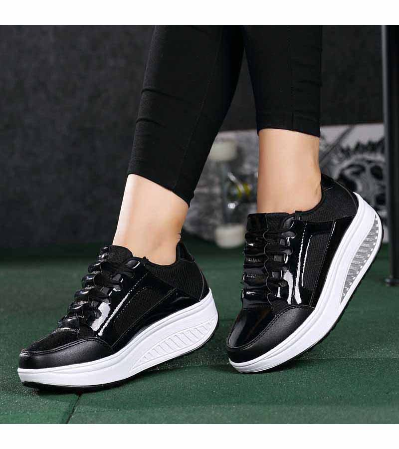 fa9ded999e4 Women s  black leather lace up  rocker bottom sole shoe sneakers ...
