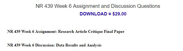 nr439 research article critique