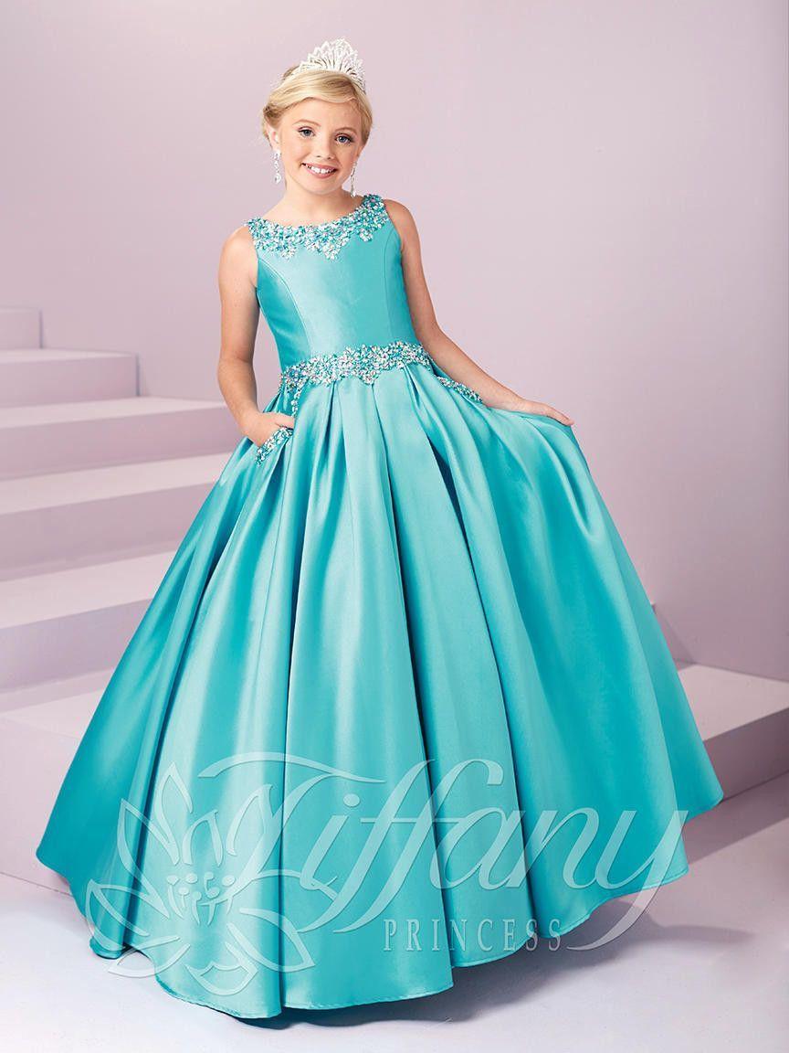 837c224fccc Tiffany Princess 13485 Turquoise Beaded Scoop Neckline Pageant Dress ...
