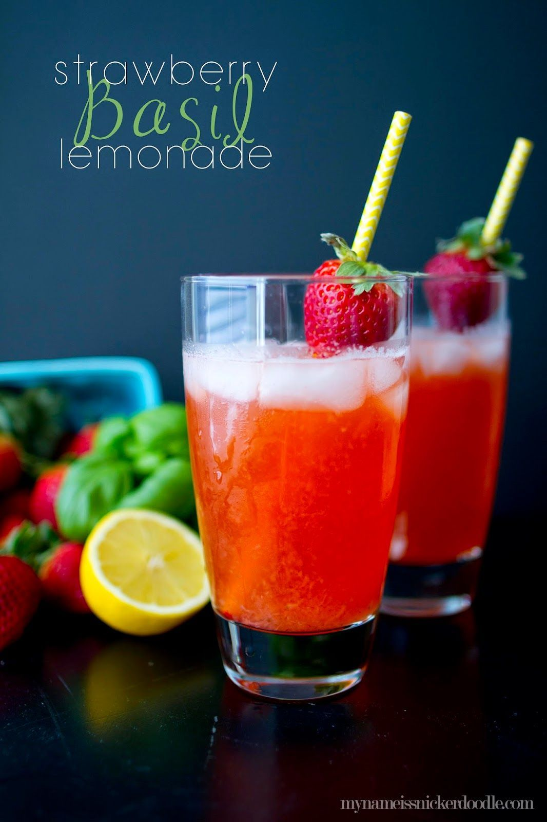 Strawberry Basil Lemonade #basillemonade This Strawberry Basil Lemonade recipe is super easy and so quenching!  The perfect sweet drink for spring and summer.  |  My Name Is Snickerdoodle #basillemonade