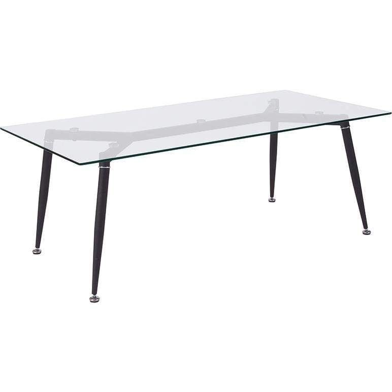 Chestnut Hill Collection Glass Coffee Table With Sleek Matte Black
