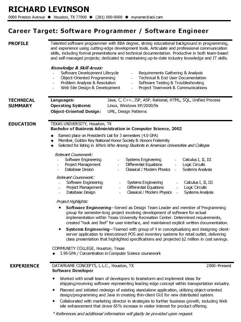 Sample Cv format for software Developer