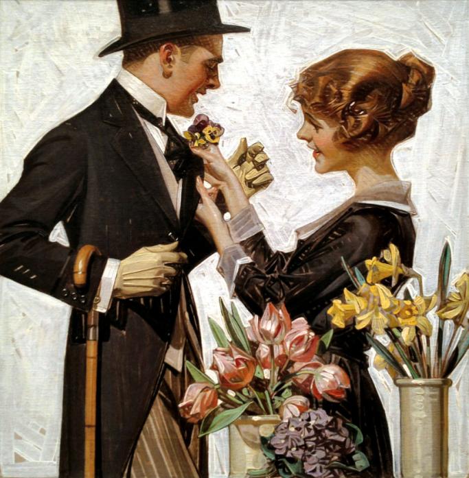 Leyendecker, Joseph Christian (b,1874)- Finishing Touch (Boutonnière)