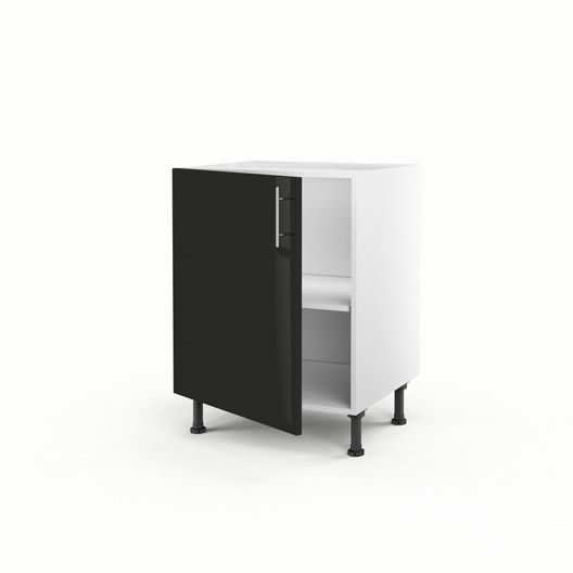 Meuble de cuisine bas noir 1 porte Rio, H70xL60xP56 cm ...