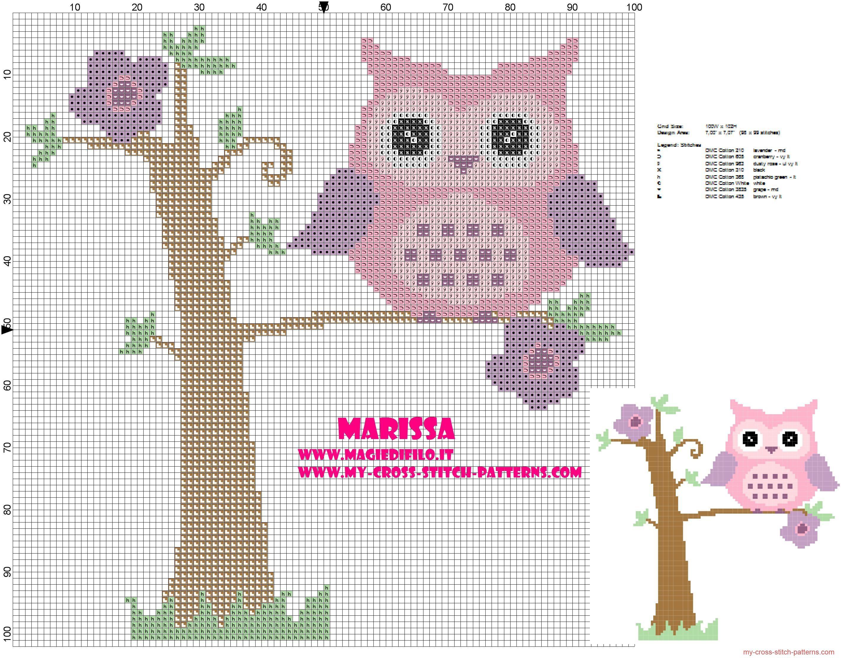 patrón de punto de cruz búho rosado en el árbol   Punto de cruz ...