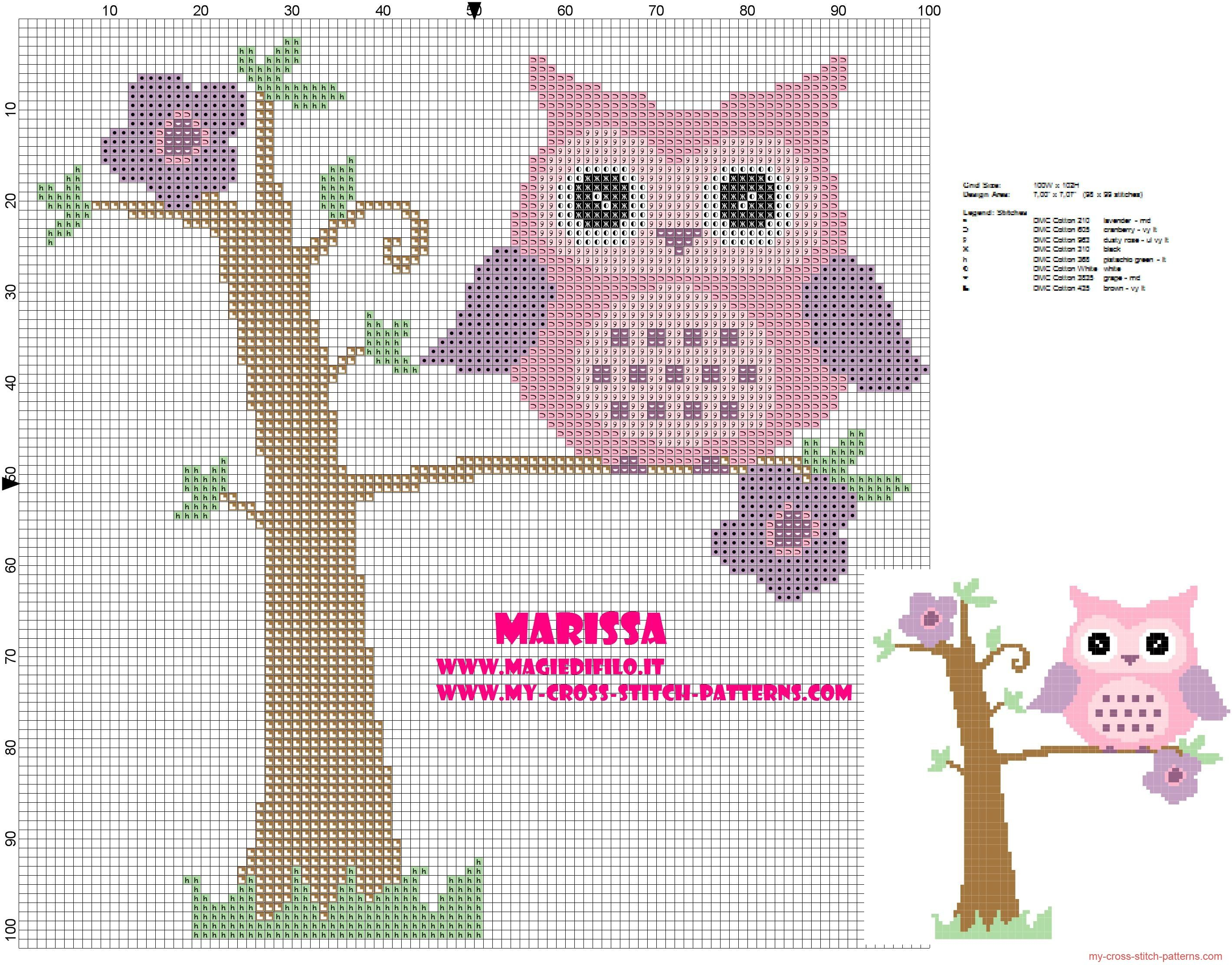 cross-stitch pattern pink owl on tree | Mi joby4 | Pinterest | Búho ...